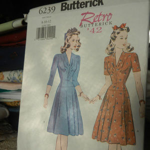 Vtg Butterick Retro home sewing pattern 40s dress
